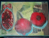 SALE Pomegrante Painting Collage