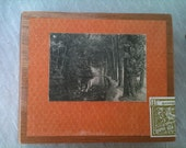 SALE UPcycled Orange and Vintage Postcard Hand Decorated Cigar Box