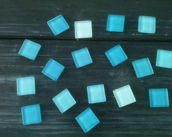 Turquoise Blue Glass Tile magnets set of 4 (87b)