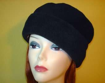 Black Fleece Pill Box Hat Winter Snow Ski Hat