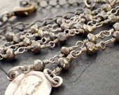 NEW rosary & pyrite necklace