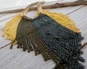 chain fringe bib necklace - gold, antique gold, & gunmetal
