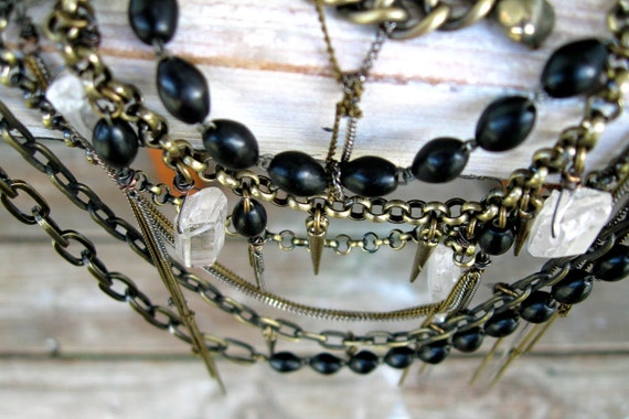 statement dagger bead necklace, rosary, pyrite tangled chain, crystal quartz, antique brass and steel
