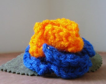 Crocheted Rose Barrette - Blue and Orange (SWG-HB-PO01)