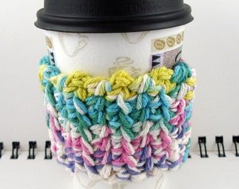 SALE - Pastel Colors Crocheted Coffee Cozy (SWG-C17)