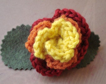 Crocheted Rose Barrette - Serenity (SWG-HB-SE02)