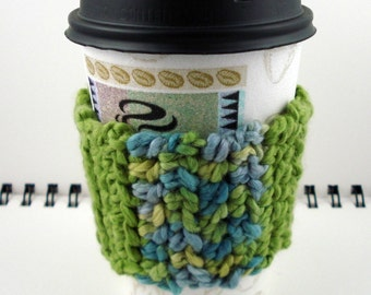 SALE - Avocado Green and Ocean Hues Organic Cotton Crocheted Coffee Cozy (SWG-D06)