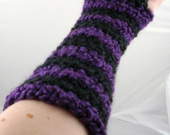 Purple and Black Striped Crocheted Arm Warmers (size S-M) (SWG-AW-SH07)