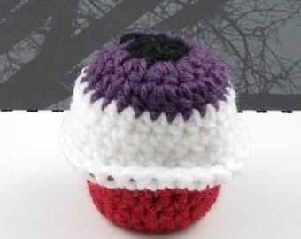 Purple Eyeball Crocheted Red Velvet Cupcake