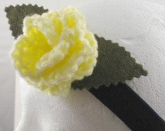 Crocheted Rose Headband - Light Yellow Rose on Navy Blue Stretchy Headband (SWG-HH-ZZ04)
