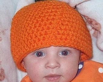 Crocheted Pumpkin Hat for Infants or Children