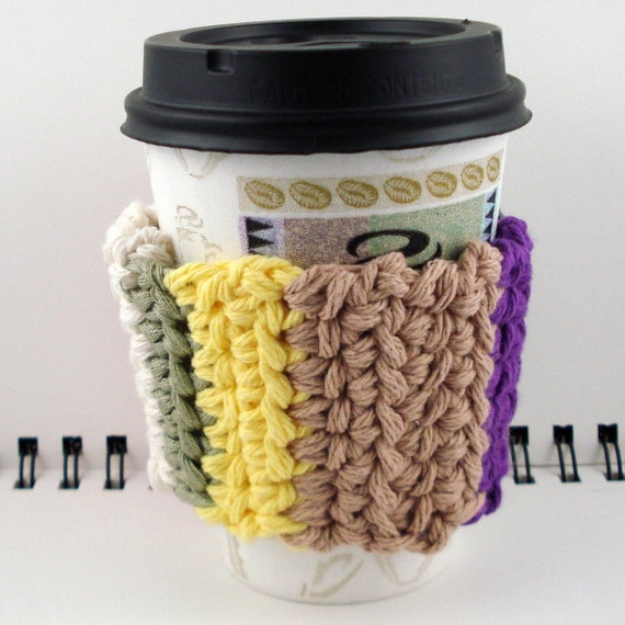 SALE - Multi-Colored Striped Crocheted Coffee Cozy (SWG-C01)