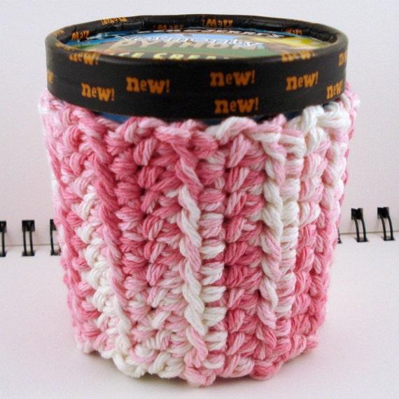 Strawberry-Vanilla Swirl Crocheted Ice Cream Cozy