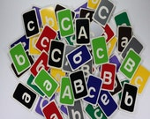 Wood Alphabet Flashcards Multicolored Set of 26 Lower Case Letters