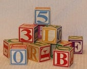 Vintage Alphabet Wooden Blocks Set of 24 Small wood toys