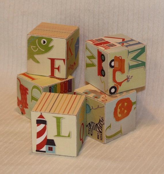 Wooden Alphabet Blocks Set of 5