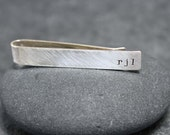 CHARISMA, initial Tie Clip, bar,tack, for men, sterling, silver, custom text, initials,personalized