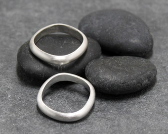 Couple rings 3mm,4mm MODERN ROUNDED SQUARE bands