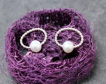 BEADED Pearls stud post earrings, Sterling silver
