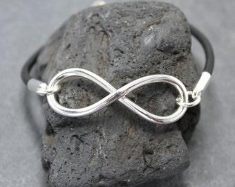 HEAVY INFINITY Bracelet III,Leather,Sterling Silver