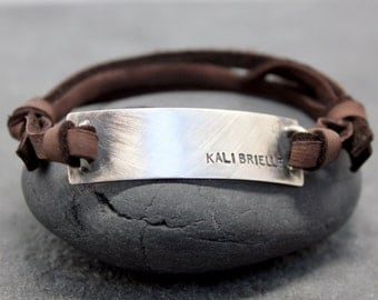 BOX LEATHER, Adjustable Bracelet, Cuff, Men, id, name, initials, hand stamped, sterling, silver, 92.5