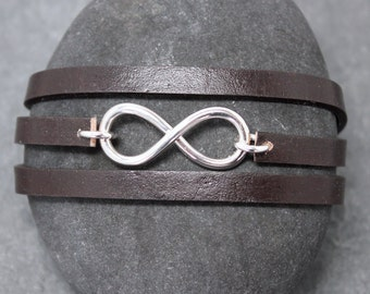 INFINITY TRIPLE bracelet III, leather, sterling, silver, genuine, natural, forever, eternity