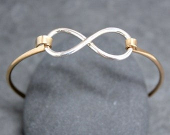 INFINITY Charm Bangle, Bracelet, Cuff, Sterling, Silver, 14K GF, Goldfill, Nickel Free, Forever, Eternity, Beyond, Love, Friendship
