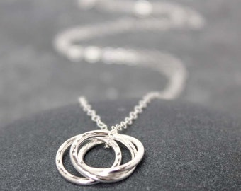 KARMA necklace, Circles, Bubbles, Round, Rolling, Interlocking, Sterling silver, 925, Family, Friend, Love
