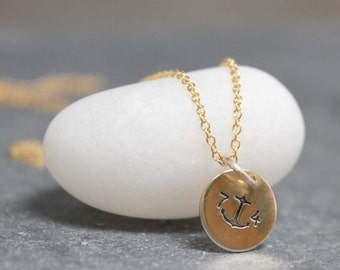 ANCHOR Necklace, personalized, Disc, custom text, initials, 14K, Gold filled, Goldfill, Sterling, Silver, friendship, love