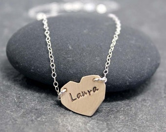 ANGLED HEART necklace, Love, Valentine, Customized, Personalized, Hand Stamped, Initials, Heart