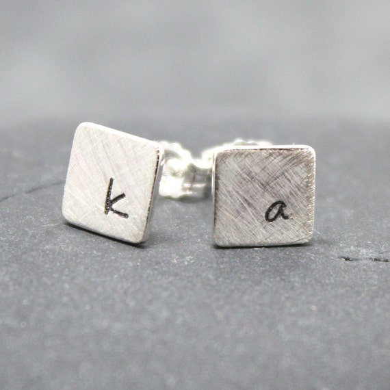 DOUBLE SQUARE Initial Earrings Post Studs