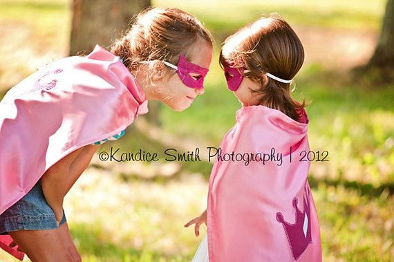 Girls Pink Princess Crown Super Cape with matching mask PRIORITY SHIP US only