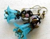 Aqua Blue Lily, Tulip Black, Pink Rose Lampwork Vintage Bronze, Filigree Flower Earrings