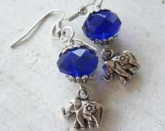Tibetan Silver ELEPHANT Charm Cobalt Blue Faceted Glass Crystal Hypoallergenic Earrings