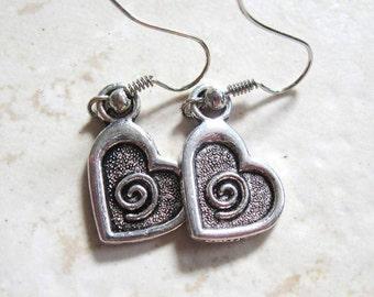 Hypoallergenic Antique Silver (Platinum/Rhodium) Tibetan Swirl Heart Charm French Hook Earrings, Rubber Back, Simple Dangle, Nickel Safe