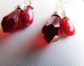 vampire tears . ruby . swarovski crystal . teardrop . sterling silver . earrings