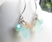 mute . pink and aqua chalcedony . swarovski crystal . cluster teardrop earrings