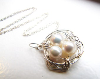 large cluster . birds nest . sterling silver. freshwater pearl . wire wrap necklace