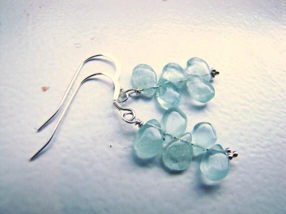 dew drops . aquamarine teardrop . gemstone earrings