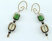 Green and Yellow Cathedral Glass Earrings