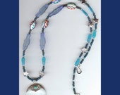 Shades of Blue Fish No. 2 Marvelous Magnifying Glass Necklace with Turquoise and Sterling Setting