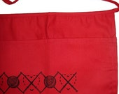 RED knitting apron- GREAT GIFT- craft apron