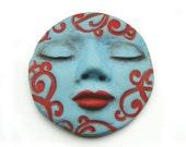 Turquoise Blue Red Swirls Dream Goddess Cabochon 35mm Sleepy Art Doll Face Cab 2492 polymer clay