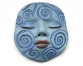 Denim Blue Dream Swirls Polymer Clay Cabochon Sleepy Goddess Art Doll Parts Cab 2558