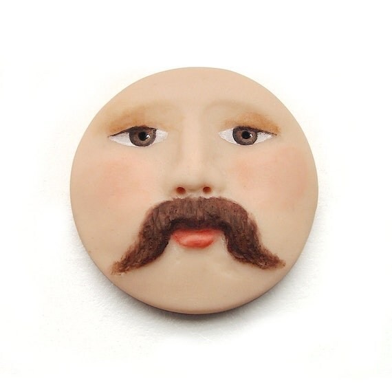 Mustache Man Face Cab 30mm Round Brown Eyes Art Doll Cabochon Polymer Clay Masculine Manly Dude Moustache 2369