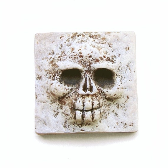 Square Skull Bone Day of the Dead Art Face Cab Rockabilly Spooky White Cream Faux Bone Creepy Halloween Skeleton 2474 polymer clay