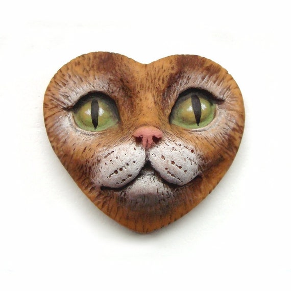 Tabby Cat Heart Medium Polymer Clay Cabochon Green Eyes Valentine Kitty Art Doll Face Cab 2454