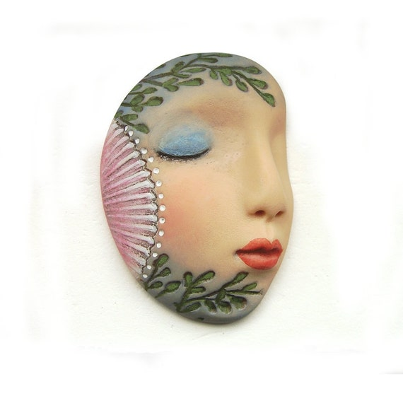 Seashell Mermaid Seaweed Sleepy Art Doll Face Cab Sea Ocean Beach Dream Profile Goddess Cabochon 2534 polymer clay