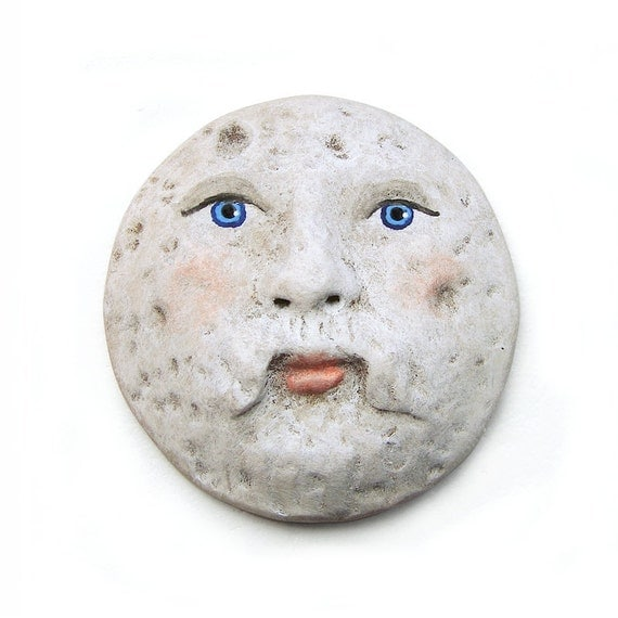 Moon Man Art Doll Face Cab Polymer Clay Celestial Space Sky White Mustache Cabochon 2568
