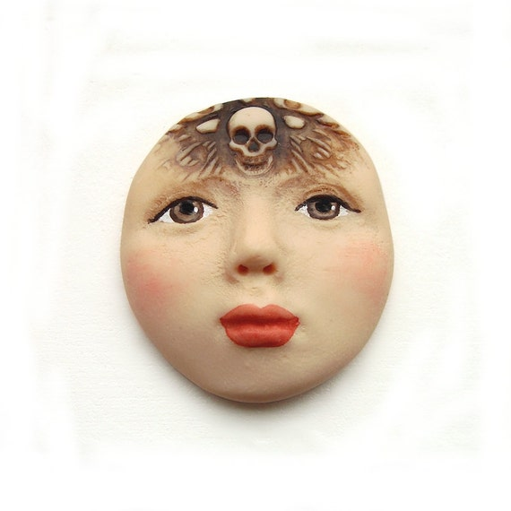 RESERVED FOR LEBAILLY  ----  Day of the Dead Dia De Los Muertos Face Cab Art Doll Cabochon Polymer Clay Brown Eyes Lady Skull Skeleton 2576